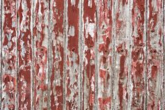 Old wooden wall painted with dark red color peeling revealed rustic texture. The old wooden wall painted with dark red color cracking, peeling and revealed the Royalty Free Stock Image