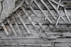Old wooden wall with plaster Stock Image