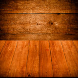 Old wooden wall and table or board for background. Space for tex Royalty Free Stock Image