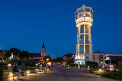 Old wooden water tower in Siofok, Hungary royalty free stock photos