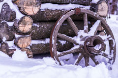 Old wooden water well, wooden wheel with rusty rim rustic Royalty Free Stock Photography