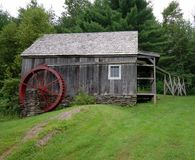 Old wooden watermill. Scenic view of old wooden watermill in countryside, Chester, Vermont, U.S.A Stock Photos