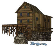 Old wooden watermill. Hand drawing of an old wooden watermill Stock Photo