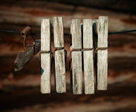 Old wooden weathered clothespins. Stock Images