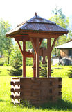OLD WOODEN WELL. IN ZAKOPANE, POLAND royalty free stock photo