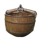 Old wooden well bucket isolated. Royalty Free Stock Photos