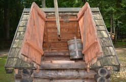 Old wooden well for collecting water royalty free stock photos