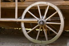 Old wooden wheel. Close up of old wooden wheel Stock Photography