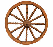 Old wooden wheel. Isolated on white Stock Photos