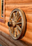 Old wooden wheel from a cart Royalty Free Stock Image