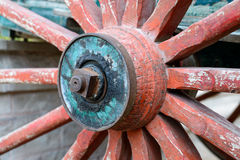 Old wooden wheel from a cart Royalty Free Stock Photos