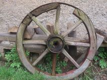 Old wooden wheel. Royalty Free Stock Images