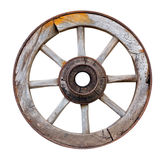Old wooden wheel on white background Stock Photos