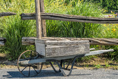 Old Wooden Wheelbarrow Stock Photo