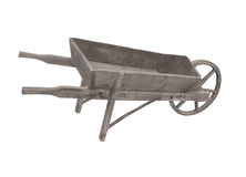 Old wooden wheelbarrow isolated. Royalty Free Stock Photography