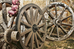 Old wooden wheels. In the barn Royalty Free Stock Image