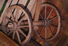 Old wooden wheels from a wooden cart. stock image
