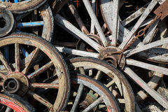 Old wooden wheels. A lot of old wooden wheels Royalty Free Stock Photo