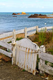 Old wooden white fence Stock Photo