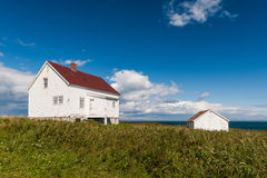 Old wooden white house and shed Royalty Free Stock Photos