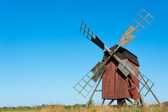 Old wooden windmill. On the island Öland, Sweden, painted in typical swedish red Stock Image