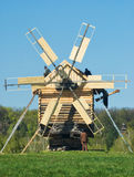 Old wooden windmill. At Pirogovo ethnographic museum, near Kyiv, Ukraine Royalty Free Stock Photography
