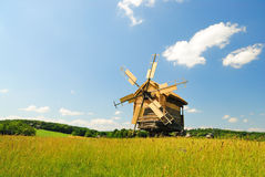 Old wooden windmill. Old ukrainian windmill in museum Pirogovo Stock Images