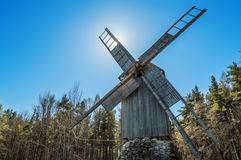Old wooden windmill, close-up Stock Image