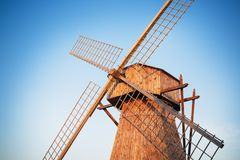 Old wooden windmill royalty free stock photos