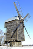 Old wooden windmill close up in winter Stock Photography