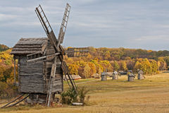 Old wooden windmill in the countryside Royalty Free Stock Image