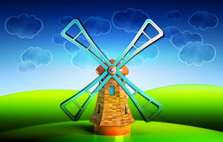 Old wooden windmill on the hills illustration. Farmhouse landscape with blue sky and clouds background Vector Illustration