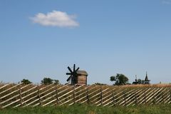 Old wooden windmill on Kizhi island Stock Images