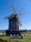 Old wooden windmill. Kozmodemyansk, Republic of Mari El royalty free stock photo