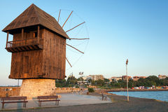 Old Wooden Windmill On The Coast, Nesebar Town, Bulgaria Royalty Free Stock Photo