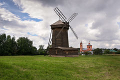 Old wooden windmill in Suzdal stock image