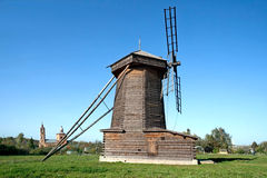 Old wooden windmill in Suzdal town, Russia. Stock Image