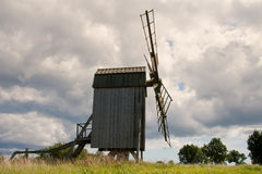Old wooden windmill in Sweden Royalty Free Stock Photos