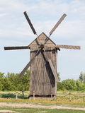 Old wooden windmill in Ukraine Stock Photography