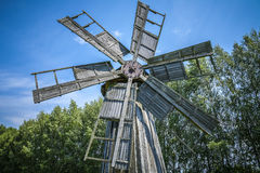Old wooden windmill. Stock Photo