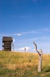 Old wooden windmills. At Pirogovo ethnographic museum, near Kyiv, Ukraine Stock Photos