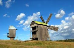 Old wooden windmills. At ethnographic museum Pirogovo, Kyiv, Ukraine Stock Images
