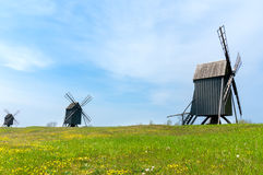 Old wooden windmills Stock Images