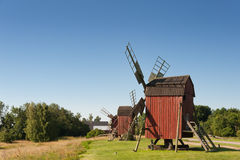 Old wooden windmills Stock Photography