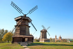 Old wooden windmills in Suzdal town, Russia. Royalty Free Stock Images