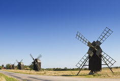 Old Wooden Windmills In Sweden Royalty Free Stock Photo