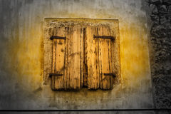 Old wooden window. In Croatian village royalty free stock image