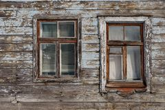 Old wooden window closeup at a house in Riga, Latvia royalty free stock photography