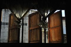 The old a wooden window with curtains. Wide open rustic wooden window with empty Royalty Free Stock Photography