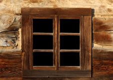 Old wooden window. With dark glass Royalty Free Stock Photos